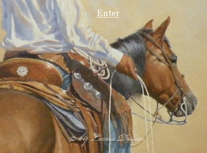 Lorna Dillon's entry page pic of cowboy on horse with riata.